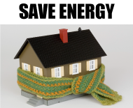 Save energy, house with scarf